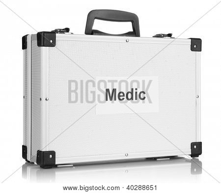 Silvery diplomat (suitcase) isolated on white