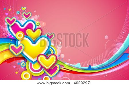 illustration of colorful heart on love card