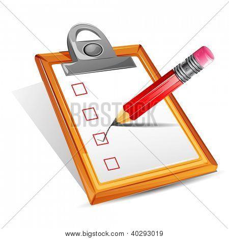 Ilustración de lápiz que hace la marca en la casilla de verificación en el portapapeles