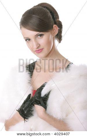 Girl In Fur Coat Posing
