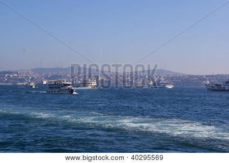 Bosporus In The Bright Day With Waterfront