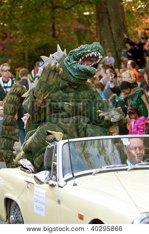 Godzilla Waves To Crowd In Halloween Parade