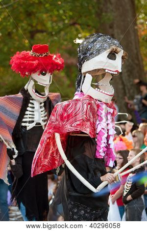 Skeleton Puppeteers In Halloween Parade