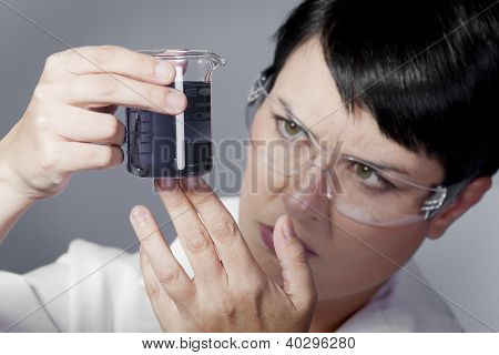 chemist working, young beauty woman in modern research laboratory