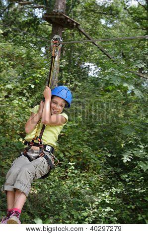 Preteen Girl Zipping Down