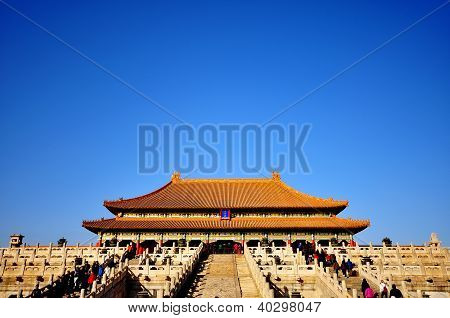 the forbidden city, landmark in beijing china