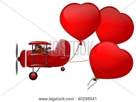Triplane and three hearts on a white background