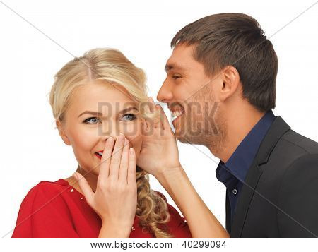 bright picture of man and woman spreading gossip
