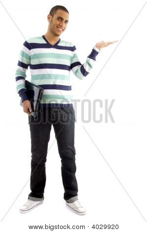 College Boy Holding Laptop And Showing Hand Gesture