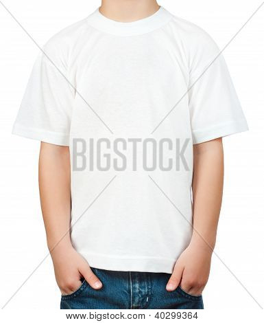 white t-shirt on a little boy