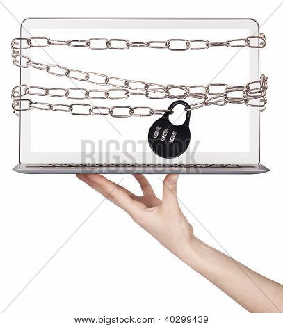 Computer Wrapped In Chains Security Concept
