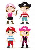 stock photo of pirate girl  - cute set of childrens pirates like hallowen costumes - JPG