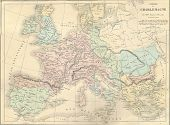 image of mm  - Antique map of France under Charlemagne from 1869  - JPG