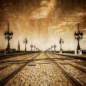 image of track home  - Bordeaux river bridge with railway tracks vintage retro view France - JPG