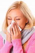 foto of rhinitis  - Beautiful and young blonde woman with rhinitis - JPG