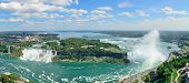 Niagara Falls aerial view panorama with blue sky and cloud