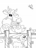 picture of the lost sheep  - illustration of funny animals farm for children to colored - JPG