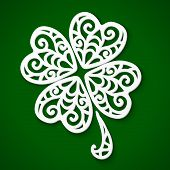 stock photo of triskele  - Ornate white cut out paper clover - JPG