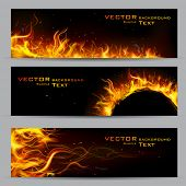 image of fiery  - illustration of set of fire flame banner - JPG