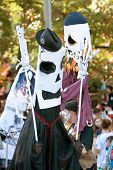 Skeleton Puppeteers Perform In Halloween Parade