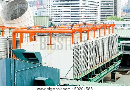 Exhaust Vents Of Industrial Air Conditioning And Ventilation Units.