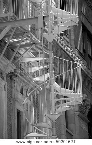 Spiral staircase on buildings exterior