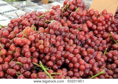 Bunches of red seedless grapes