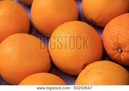 Bright colorful oranges at market