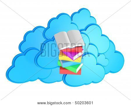 E-lerning Concept / Stack Of Multicolored Books With Open Book Before Blue Cloud Computing Icon