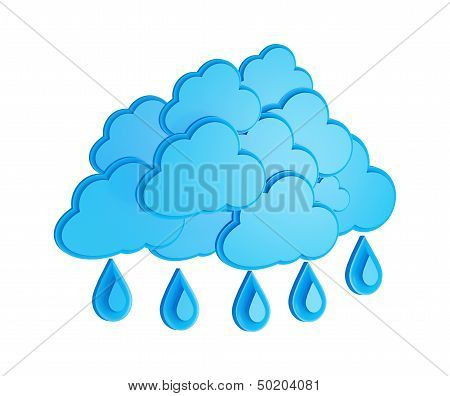 Cloud And Rain - Weather Forecast Symbol On A White Background