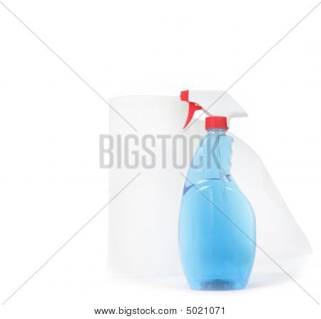 Window Cleaner And Paper Towels On White Background