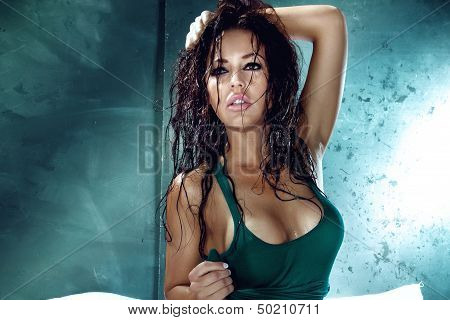 Portrait Of Attractive Brunette With Wet Hair.