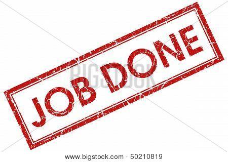 Job Done Red Rectangular Stamp