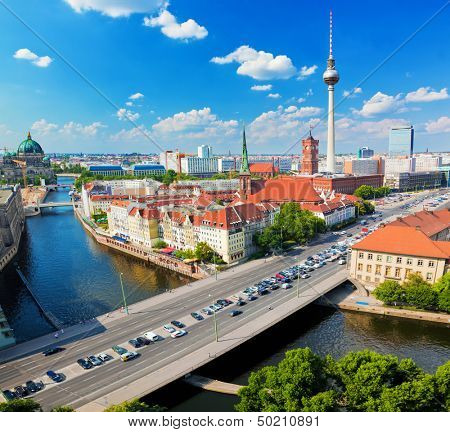 Berlin, Germany rooftop view on Television Tower, Berlin Cathedral, Rotes Rathau and the River Spree. Major landmarks under sunny blue sky