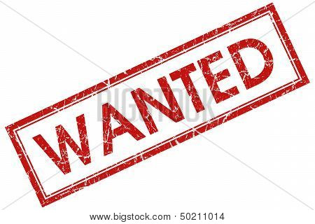Wanted Red Rectangular Stamp