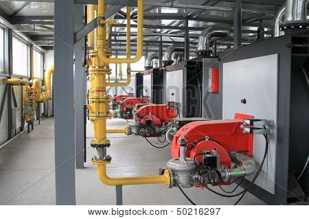 Modern Hi-tech Gas Boiler-house