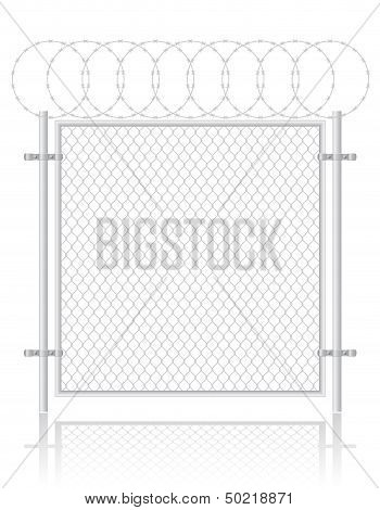 Fence Made ??of Wire Mesh Vector Illustration