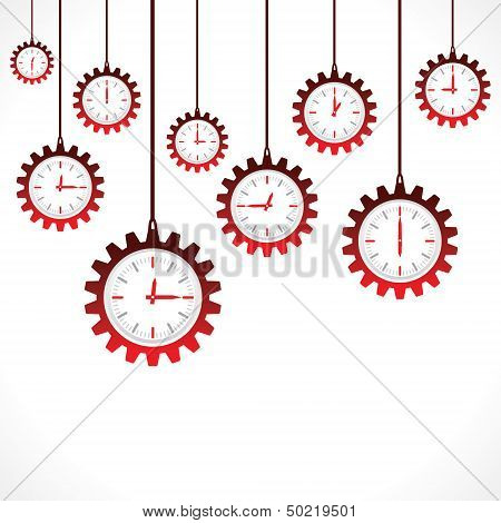 Hanging gear shape red clocks