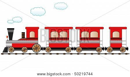 red moving train