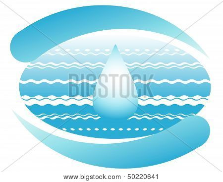 Ocean and drop of pure water on the planet