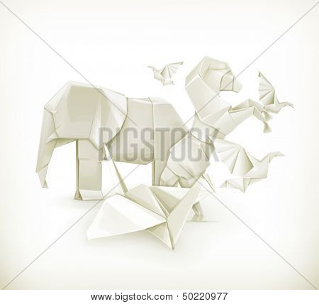 Origami animals, vector illustration