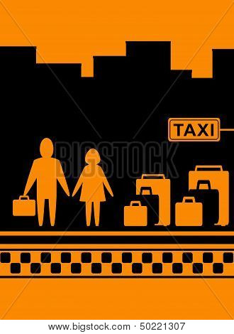 man and woman with bag waiting cab in taxi stop