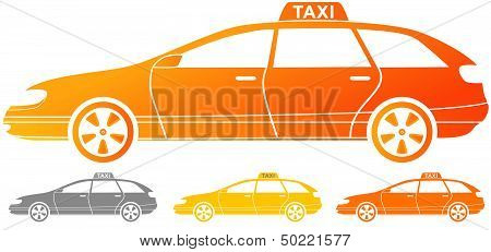 isolated taxi cab silhouette