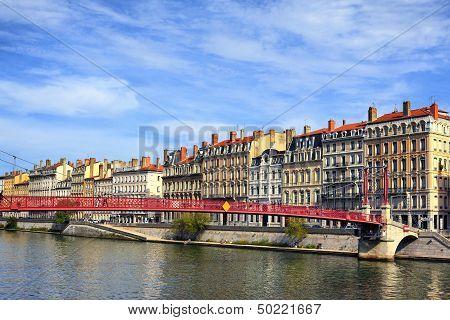 Lyon City And Red Footbridge