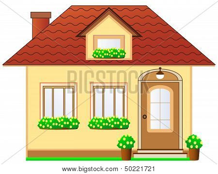 house with dormer and flower pot