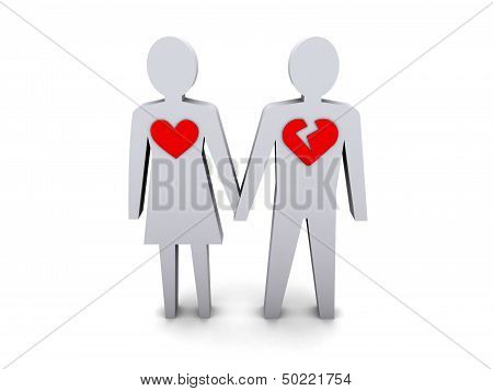 Couple. Man with broken heart. Concept 3D illustration.