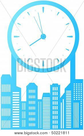 isolated city with clock