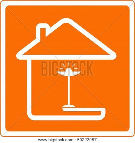 house silhouette and floor lamp