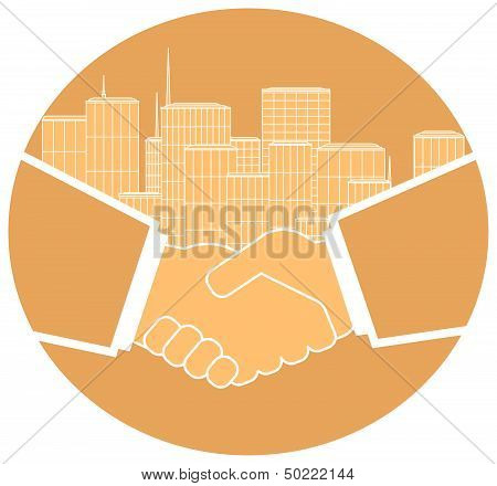 icon with handshake and urban landscape