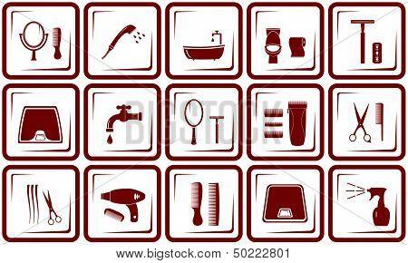 hair care and bathroom icons